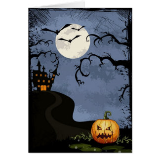 Halloween Haunted House At Night Greeting Card