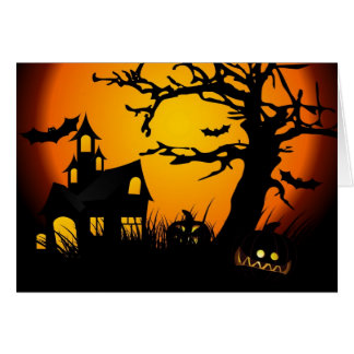 Halloween haunted house greeting card