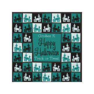 Halloween haunted house mosaic gallery wrapped canvas