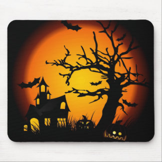 Halloween haunted house mouse mat