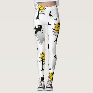 Halloween Haunted House pattern leggings