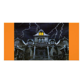 Halloween Haunted House Photo Card
