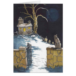 Halloween Haunted House Scary Cat Card
