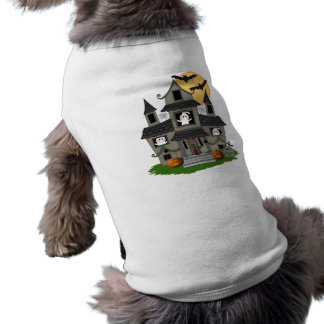 Halloween Haunted House Sleeveless Dog Shirt