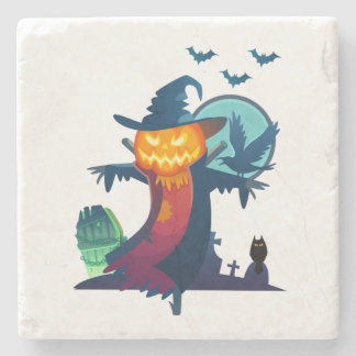 Halloween Haunted Scarecrow With Bats And A Crow Stone Beverage Coaster