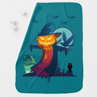 Halloween Haunted Scarecrow With Bats Crow And Owl Buggy Blanket