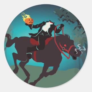 Halloween Headless Horseman Round Sticker