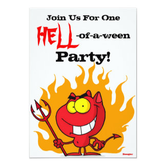 Halloween-HELL of a ween Party! 13 Cm X 18 Cm Invitation Card