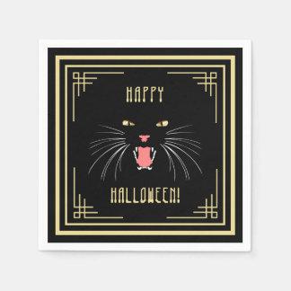 Halloween Hissing Cat Black Elegant Paper Napkins