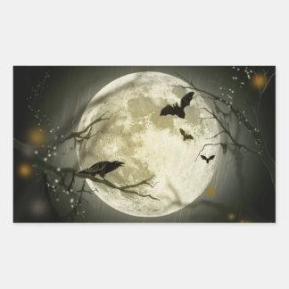 Halloween holidays mystery with fairy tale moon rectangular sticker