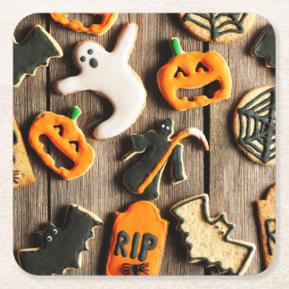 Halloween Homemade Gingerbread Cookies Square Paper Coaster
