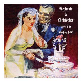 Halloween Horror Bride & Doom Undying Love Wedding 13 Cm X 13 Cm Square Invitation Card