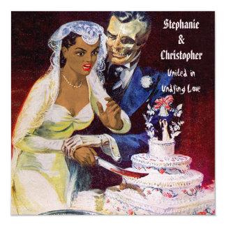 Halloween Horror Ethnic Bride and Doom Wedding 13 Cm X 13 Cm Square Invitation Card