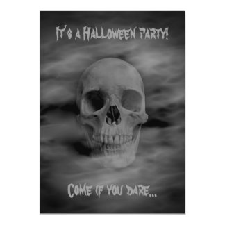 Halloween horror party ghostly skull card