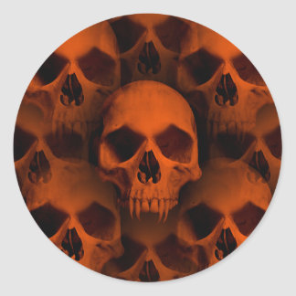 Halloween horror skulls classic round sticker