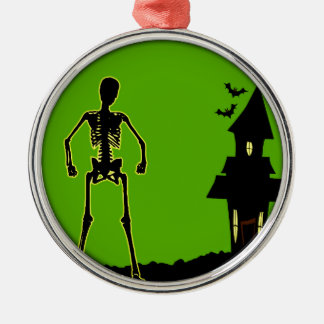 Halloween House Silver-Colored Round Decoration