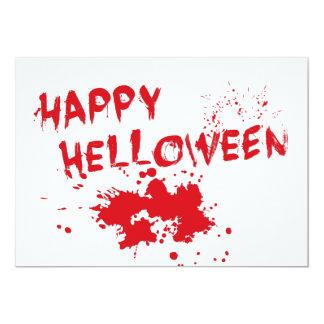 """Halloween idea: """"Happy Helloween"""" written in blood 13 Cm X 18 Cm Invitation Card"""