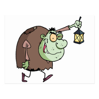Halloween Igor with lantern Postcard