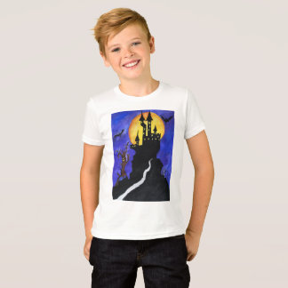 Halloween Illustartion Bats Castle Kids' T-Shirt