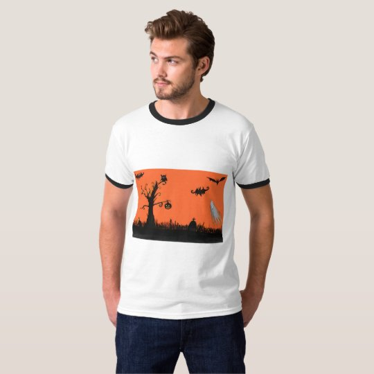 Halloween Illustration Men's Basic Ringer T-Shirt