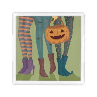 Halloween Illustration Of Girls Acrylic Tray