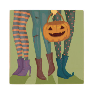 Halloween Illustration Of Girls Wood Coaster