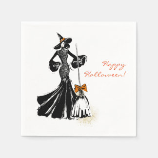 halloween illustration with black lace disposable serviettes