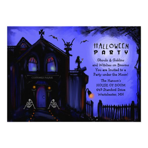 Halloween Invitation - Haunted House and Skeletons