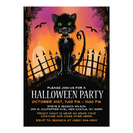 Halloween Invitation - Scary Cat in Graveyard