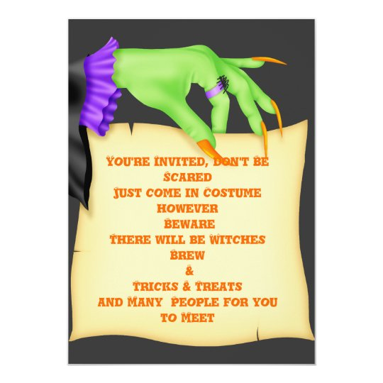 HALLOWEEN INVITATIONS WITCH HANDS