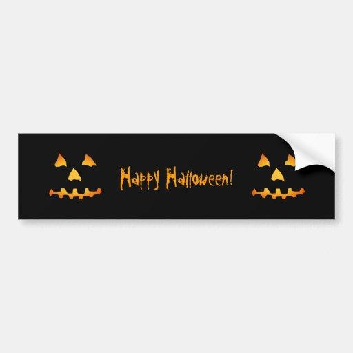 Halloween: Jack-o-Lantern Face: Bumper Sticker