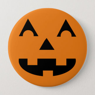 Halloween Jack O Lantern Pumpkin Face 10 Cm Round Badge