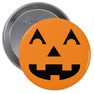 Halloween Jack O Lantern Pumpkin Face 10 Cm Round Badge