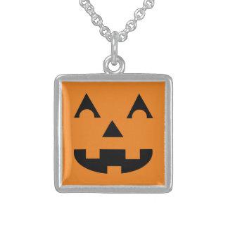 Halloween Jack O Lantern Pumpkin Face Square Pendant Necklace