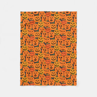 Halloween Jack-o'-lantern Pumpkins Pattern Fleece Blanket