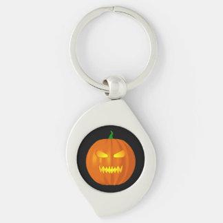 Halloween Jack O Lantern Silver-Colored Swirl Key Ring