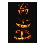 "Halloween Jack O Lantern Totem Pole 5"" X 7"" Invitation Card"