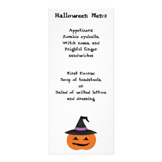Halloween jack o lantern with witch hat menu rack card template