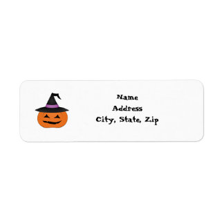 Halloween jack o lantern with witch hat return address label