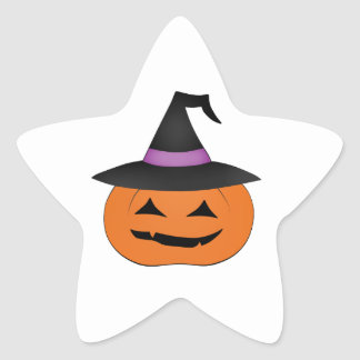 Halloween jack o lantern with witch hat stickers