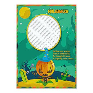 Halloween Jack o' Lantern Wizard Add Photo Frame 13 Cm X 18 Cm Invitation Card