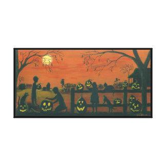 Halloween, Jack -O-Lanterns,cats,dog,farm Stretched Canvas Print