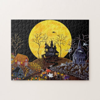 Halloween jigsaw puzzle, haunted town puzzles
