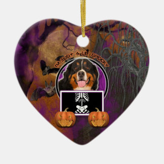 Halloween -Just a Lil Spooky -Bernese Mountain Dog Double-Sided Heart Ceramic Christmas Ornament