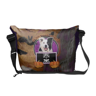 Halloween - Just a Lil Spooky - Border Collie Messenger Bags