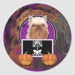 Halloween - Just a Lil Spooky - Brussels Griffon Round Stickers