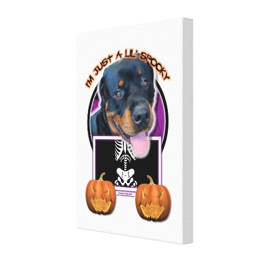 Halloween - Just a Lil Spooky - Rottweiler Stretched Canvas Print