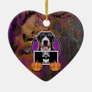 Halloween - Just a Lil Spooky - Swiss Mountain Dog Double-Sided Heart Ceramic Christmas Ornament