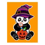 Halloween kawaii Panda with candies Post Cards