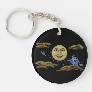 Halloween key ring,moon,stars,witches Double-Sided round acrylic key ring